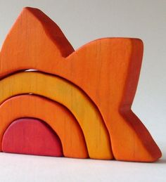 Sun Stacker - Waldorf Wooden Toy- Orange