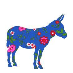 een leuk silhouet van een ezel, gemaakt van mooi behang. Een blikvanger in de kinderkamer. In diverse kleuren leverbaar.