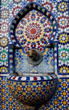 "bachir-maghrebi: "" fountain in Morocco "" Moroccan Pattern, Moroccan Design, Moroccan Tiles, Moroccan Decor, Islamic Architecture, Beautiful Architecture, Art And Architecture, Style Marocain, Moorish"