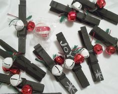 Christmas Chalkboard Decorative Clothepins, Gift Toppers, Stocking Stuffers, Christmas Jingle Bells, Silver, Green, Red,