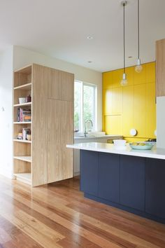 Brilliant Yellow Kitchen by Doherty Design Studio New Kitchen Designs, Interior Design Kitchen, Kitchen Colors, Kitchen Styling, Small Kitchen Storage, Kitchen Interior, Yellow Kitchen, Minimalist Kitchen, Kitchen Remodel