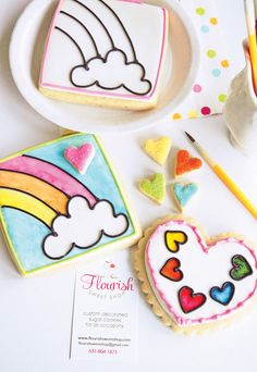 DIY Tutorial: Paint Your Own Cookies {Rainbow & hearts}