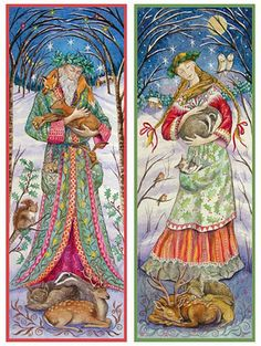 """""""WOODLAND GUARDIANS -  SAGE AND MAIDEN"""" Solstice/Yule cards by Wendy Andrew"""