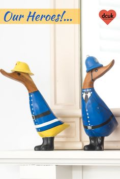 Our hand carved, hand painted Policeman and Fireman ducklings are our heroes! The first in our new range of 'The Professionals'. Each can be personalised with the name of your choice. Wonderful gifts from the Duck Company, DCUK.