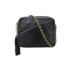 Chanel 1970'S Black Quilted Tassel Bag ❤ liked on Polyvore
