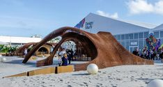 For Design Miami, three companies teamed up to create a 3D printed structure using bamboo-reinforced compounds.