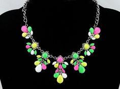 Multicolor flower necklace statement necklace bubble by eBijoux, $9.99