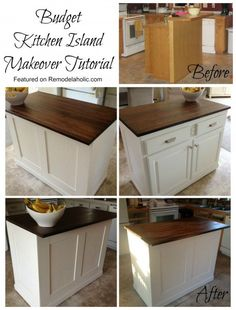 Budget friendly board and batten kitchen island makeover featured on Remodleaholic