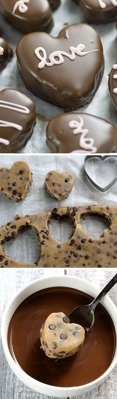 Perfect Valentines day treat for your honey - Chocolate Chip Cookie Dough Valentine's Hearts are irresistible cupid inspired dessert. (Baking Treats For Kids) Valentine Desserts, Valentines Day Food, Köstliche Desserts, Delicious Desserts, Dessert Recipes, Yummy Food, Baking Recipes, Valentines Hearts, Valentines Recipes