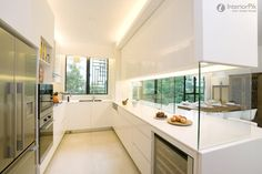 semi open-plan kitchen design, aesthetically pleasing yet functional. Sliding glass panels can close up the kitchen to avoid smoke and smells from escaping in a small home Open Kitchen Layouts, Kitchen Layout Plans, Kitchen Design Open, Open Concept Kitchen, Open Plan Kitchen, Interior Design Kitchen, Kitchen Pass, Kitchen Ideas, Kitchen Oven
