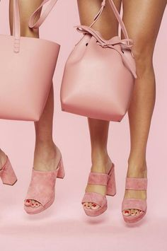 Pretty blush pink Mansur Gavriel leather bucket bag and tote bag, and suede double strap platform slides and heeled mules.