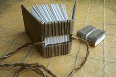 Handmade FLAX paper covered blank books, duo. Use for a journal, autograph book or small guest book.