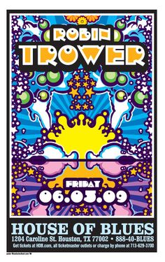 Gig posters, flyers and handbills from around the world! Vintage Concert Posters, Music Posters, Robin Trower, Rock Band Posters, Psychedelic Bands, Classic Blues, Misty Day, Unique Poster, Gig Poster