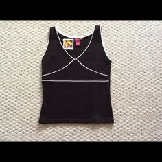NWT - Black Fitted Tank Top Brand new - never worn, cotton black tank adorned with white lines. So Tops Tank Tops