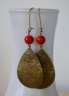 Bronze Floral Engraved Earrings, Metal and  Red Bead Earrings, Boho Earrings, Bohemian Earrings, Hippie Chic Earrings, Lace Earrings