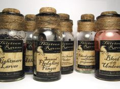 Create potion-making ingredients for potion hutch. Harry potter or once upon a time table