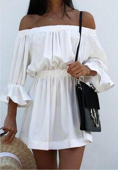 White Plain Draped Boat Neck Mini Dress