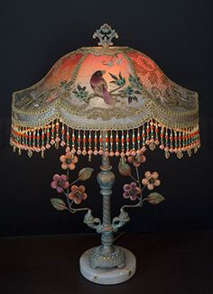Chinoiserie Bird  Lampshade with Antique textiles - Bohemian decor