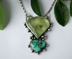 Reserved Serenity in Heart and Mind - Prehnite and Turquoise Sterling Silver Necklace by Mercury Orchid