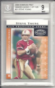 Steve Young 2000 Donruss Preferred #21 Beckett Mint 9 by Donruss. $15.00. This is a Steve Young graded card. It would make a great addition to any card collection.