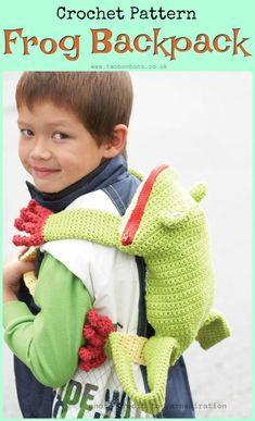 FREE crochet pattern, frog backpack, kids crochet backpack #crochet #freepattern #backpack #frogcrochet #crochetbackpack #crochetbag
