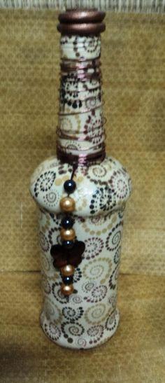 Resultado de imagen para garrafa de vidro com decoupage de navio