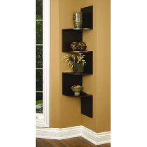 Modern Staggering Corner Wall Mounted Shelf Shelves Wood