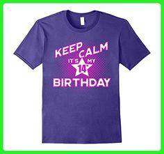 Mens Keep Calm It's My 14th Birthday T-Shirt for Girls 3XL Purple - Birthday shirts (*Amazon Partner-Link)