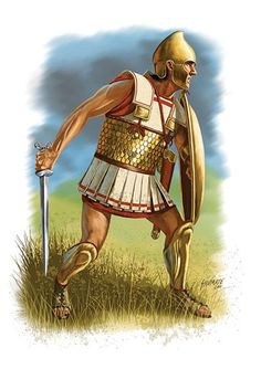 Bosporan Hoplite, showing the development of Hellenistic armour. The Linothorax armour has a coating of sewn bronze scales to add extra protection to his body.
