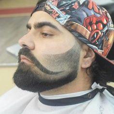 Faded beard trim that shapes around trim shaped handle bar mustache Beard Cuts, Beard Fade, Beard Haircut, Fade Haircut, Mens Facial, Facial Hair, Beard Styles For Men, Hair And Beard Styles, Hair Styles
