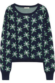 Navy, green and gray star-patterned wool-blend Slips on wool, acrylic Dry clean Alexander Mcqueen Bag, Bohemian Print, Bright Stars, Black Star, Star Patterns, Skinny Pants, Wool Blend, Long Sleeve Tops, Knitwear