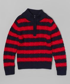 Love this Red & Navy Rugby Stripe Pullover - Infant, Toddler & Boys on #zulily! #zulilyfinds