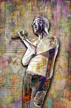 Chris Martin of Coldplay Poster, Coldplay Tribute Fine Art – McQDesign Stevie Wonder Music, Coldplay Poster, Chris Martin Coldplay, John Wayne Movies, Pop Art Posters, Colorful Artwork, I Love Music, Rock Legends, Fine Art