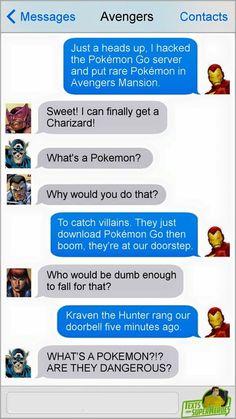 Marvel and Pokemon Funny Marvel Memes, Dc Memes, Marvel Jokes, Marvel Dc Comics, Marvel Heroes, Loki Funny, Avengers Texts, Superhero Texts, Marvel Avengers