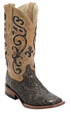 Ferrini® Ladies Antique Brown Tooled w/Tan Sequin Inlay Top Double Welt Square Toe Western Boots | Cavender's