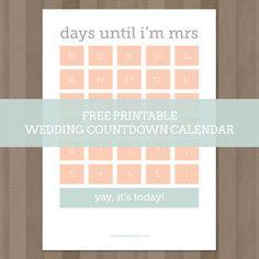 Wedding Countdown Calendar {Free Printable}