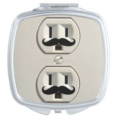 Mustache power outlet mirrors #mirror #mustache #zazzle