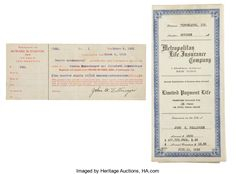 Autographs:Celebrities, Two Dillinger Family-Related Documents....