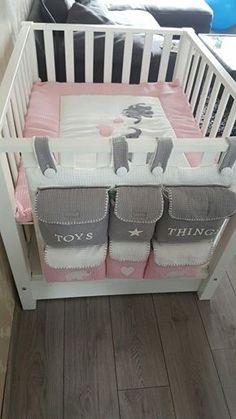 Boxzak pastel/licht roze/wit/grijs wafelstof 'Toys & Things' met olifantjes