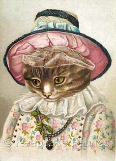 Victorian-Dressed-Cat-Quilt-Block-Multi-Sizes-FrEE-ShiPPinG-WoRld-WiDE-C9