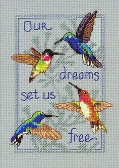 DIY Chart Counted Cross Stitch Patterns Needlework Hummingbirds and Berries