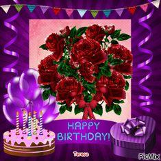 Red Bouquet Of Roses Happy Birthday Gif Happy Birthday Wishes Pics, Purple Happy Birthday, Happy Birthday Bouquet, Birthday Pins, Birthday Wishes For Myself, Happy Birthday Pictures, Birthday Messages, Mom Birthday Gift, Birthday Greetings