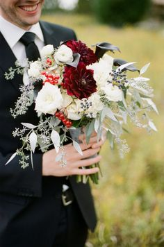 red grey and white wedding flower bouquet, bridal bouquet, wedding flowers, add pic source on comment and we will update it. www.myfloweraffair.com can create this beautiful wedding flower look.