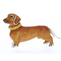 Saturno Sterling Silver and Enamel Dog – Dachshund