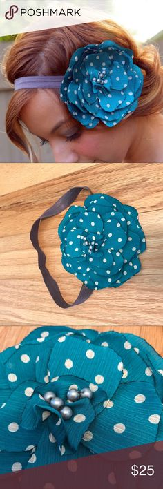the cole - teal & white polka dot flower band Handmade and EUC! Photos with hardwood backgRound are actual item, other photos are stock.  Materials: satin, felt, pearls, elastic  A purple/gray elastic band features a gorgeous teal and white polka dot print flower.   embellished with smoky gray pearls.   All the edges are singed to prevent fraying.  MRD has been featured at Henri Bendel in NYC!  Tags: Accessories Hair Headband flower girly gift mila rose designs petals night bridesmaids…