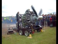 British Hercules engine (1939) demonstration. 14-cylinder, two-row, supercharged, air-cooled radial engine. 1,272 HP at 2,800 rpm for takeoff; 1,356 HP at 2,750 rpm at 4,000 feet.