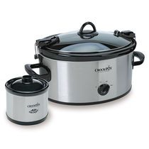 Crock-Pot® Cook & Carry™ Manual Slow Cooker with Little Dipper® Food Warmer, Brushed Stainless Steel, 6.5-Qt, and BONUS Cookbook