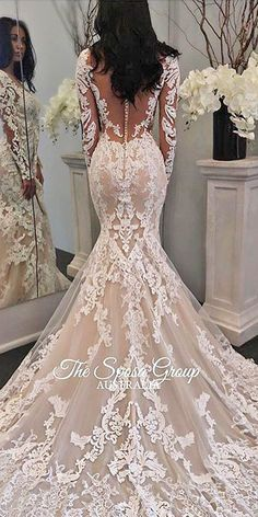 36 Chic Long Sleeve Wedding Dresses We were inspired charming long sleeve wedding dresses. Long sleeved gowns are totally modern. Lace long sleeves, embroidered bodice do this gowns gorgeous. Lace Mermaid Wedding Dress, Sexy Wedding Dresses, Wedding Dress Sleeves, Long Sleeve Wedding, Wedding Attire, Bridal Dresses, Modest Wedding, Gown Wedding, Dress Lace
