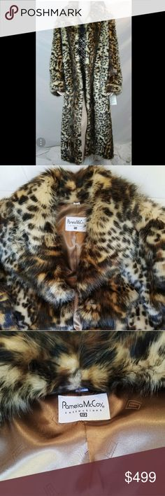 """Pamela McCoy Leopard Faux Fur Coat!! STUNNING! Authentic Pamela McCoy Leopard Faux Fur Coat Full Length! This Stunning coat is been wear only a couple times. It is in excellent condition! Like NEW!!!!!        ****Absolutly Gorgeous and AUTHENTIC****  """"This is one of  the most beautiful Leopard Faux Fur Coats that you will ever find.""""  Size small, but fits medium as well.  It has one button at the collar and three hooks down the front for closure. Please ask any questions before buying. No…"""