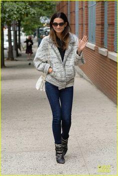 Lily Aldridge ISABEL MARANT Gray Tacy Boot